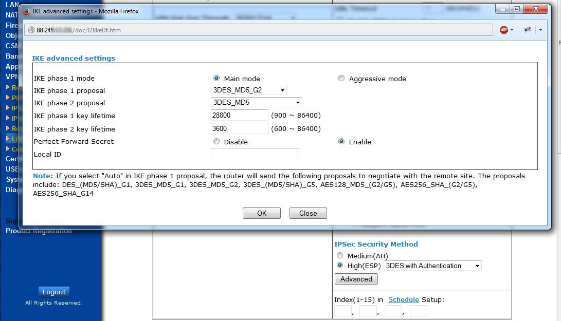 IPsec Security Mode